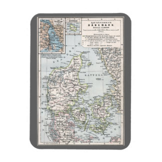 Danish Antique Map of Denmark, Danmark Vinyl Magnet