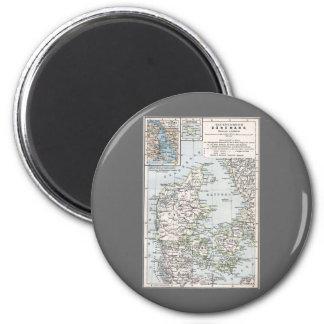 Danish Antique Map of Denmark, Danmark Magnet