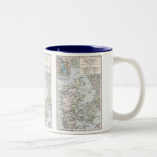 Danish Antique Map of Denmark, Danmark Two-Tone Mug