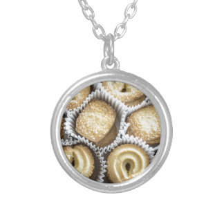 Danish Butter Cookies Round Pendant Necklace
