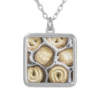 Danish Butter Cookies Square Pendant Necklace
