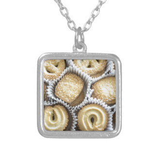 Danish Butter Cookies Square Pendant Necklace