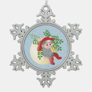 Danish Christmas Elf Pewter Snowflake Ornament