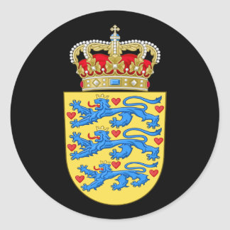 Danish Coat of Arms Round Sticker