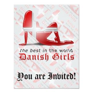 Danish Girl Silhouette Flag 11 Cm X 14 Cm Invitation Card