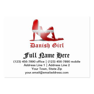 Danish Girl Silhouette Flag Business Card Templates