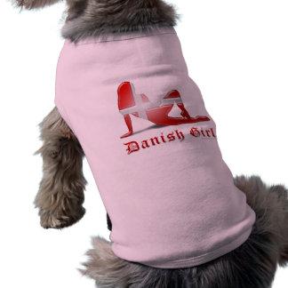 Danish Girl Silhouette Flag Dog T Shirt
