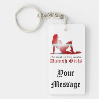 Danish Girl Silhouette Flag Key Chains