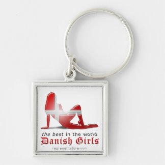 Danish Girl Silhouette Flag Key Chain