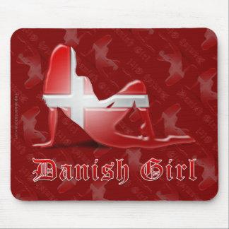 Danish Girl Silhouette Flag Mouse Pad