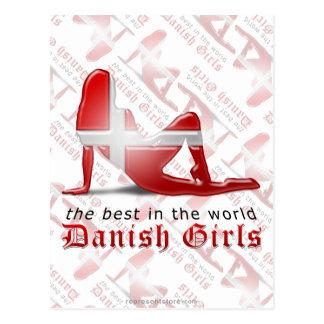 Danish Girl Silhouette Flag Postcard