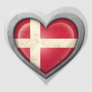 Danish Heart Flag Stainless Steel Effect Heart Stickers