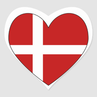 Danish Heart Valentine Flag Heart Sticker