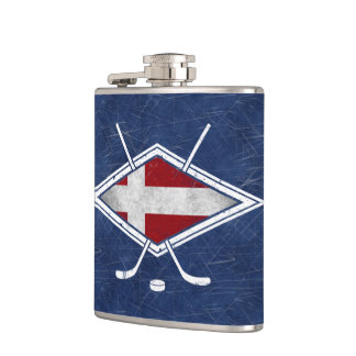 Danish Ice Hockey Flag Logo Hip Flask