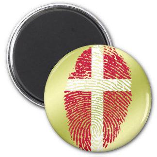 Danish touch fingerprint flag 6 cm round magnet