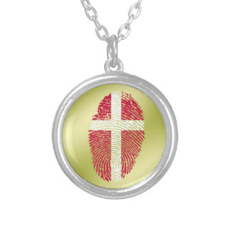Danish touch fingerprint flag silver plated necklace