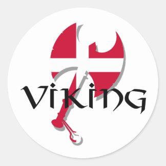 Danish Viking Denmark flag Axe Classic Round Sticker
