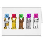 Danke, cats saying 'thanks' in German. Card