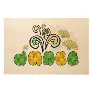 Danke note in german. Thank you doodle kid's Wood Canvases