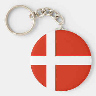 Dannebrog; The Official Flag of Denmark Basic Round Button Key Ring