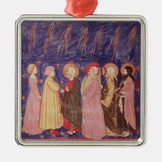 Dante and Beatrice with the Saints of Paradise Silver-Colored Square Decoration