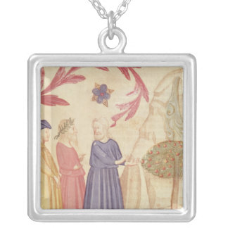 Dante and Virgil  in the Terrestrial Paradise Silver Plated Necklace