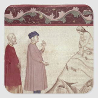 Dante and Virgil  meet the souls imprisoned Square Stickers