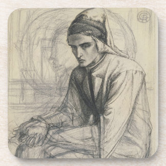 Dante in Meditation Holding a Pomegranate, c.1852 Coaster