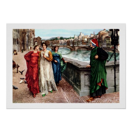Dante meets Beatrice in Florence fine art painting