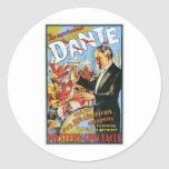 Dante ~ The Mysterious Magician Vintage Magic Act Round Stickers