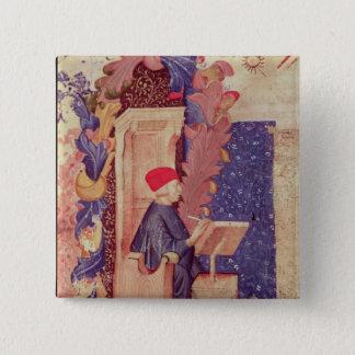 Dante writing 'The Divine Comedy' 15 Cm Square Badge
