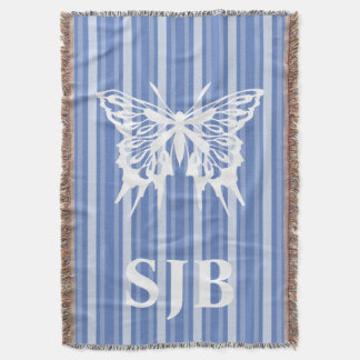 Danube Victorian Stripe with Butterfly Throw Blanket