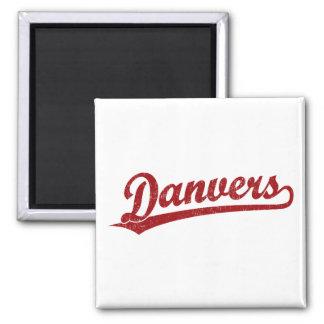 Danvers script logo in red fridge magnets