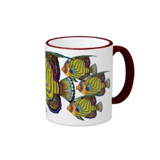 Daorges Angelfish Ceramic Painted HandleMug Ringer Mug