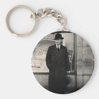 dapper 1930s man photo basic round button key ring