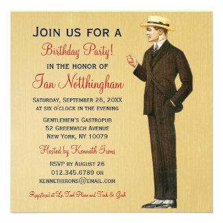 Dapper Gentleman s Birthday Party Invitations