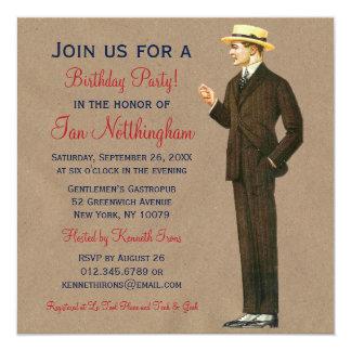 Dapper Gentleman's Birthday Party Invitations