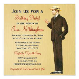 Dapper Gentleman's Birthday Party Invitations
