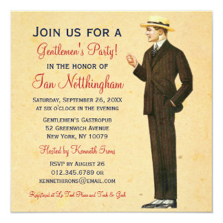 Dapper Gentlemen's Party Invitations