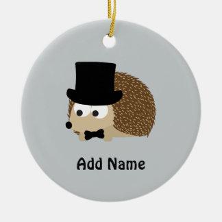 Dapper Hedgehog Round Ceramic Decoration