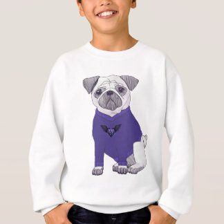 Dapper pug with purple sweater