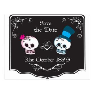 Dapper Skull Wedding Couple Postcard