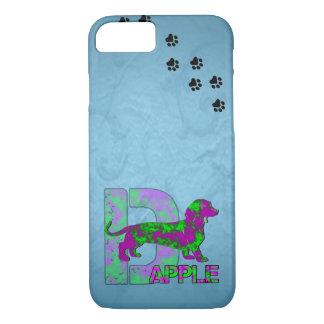 Dapple Dachshund in Purple and Green iPhone 8/7 Case