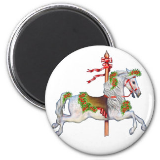Dapple Gray Carousel Horse 6 Cm Round Magnet