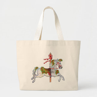 Dapple Gray Carousel Horse Large Tote Bag