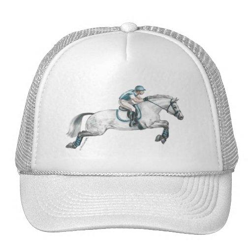 Dapple Grey Eventing Horse Jumping Trucker Hats