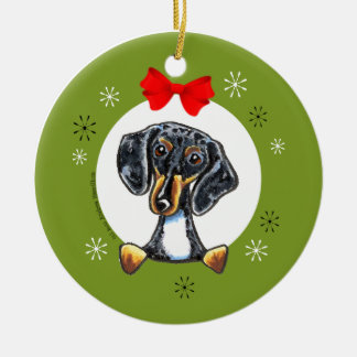 Dapple Tricolor Smooth Dachshund Christmas Classic Christmas Ornament