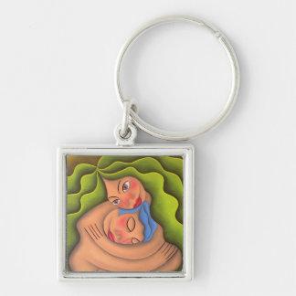 Dar y recibir pintura óleo arte Silver-Colored square key ring