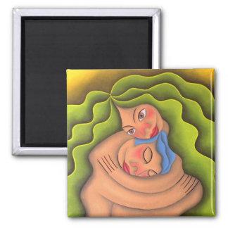 Dar y recibir pintura óleo arte square magnet