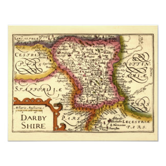 """""""Darbyshire"""" Derbyshire County Map, England 11 Cm X 14 Cm Invitation Card"""